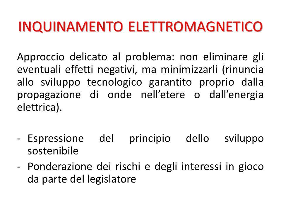 INQUINAMENTO ELETTROMAGNETICO Approccio delicato al problema: non eliminare gli eventuali effetti negativi, ma minimizzarli (rinuncia allo sviluppo tecnologico garantito proprio dalla propagazione di onde nell'etere o dall'energia elettrica).