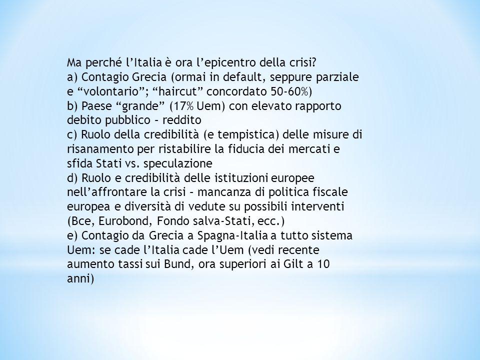 """Ma perché l'Italia è ora l'epicentro della crisi? a) Contagio Grecia (ormai in default, seppure parziale e """"volontario""""; """"haircut"""" concordato 50-60%)"""