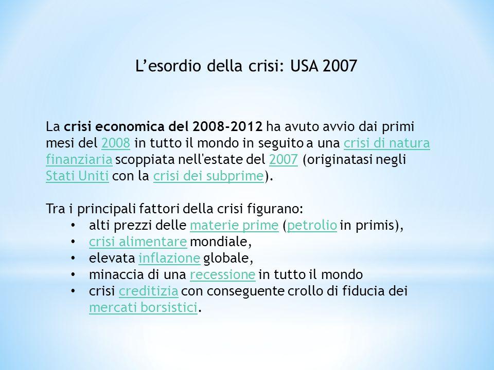 La crisi economica del 2008-2012 ha avuto avvio dai primi mesi del 2008 in tutto il mondo in seguito a una crisi di natura finanziaria scoppiata nell'