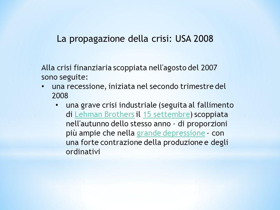 Alla crisi finanziaria scoppiata nell'agosto del 2007 sono seguite: una recessione, iniziata nel secondo trimestre del 2008 una grave crisi industrial