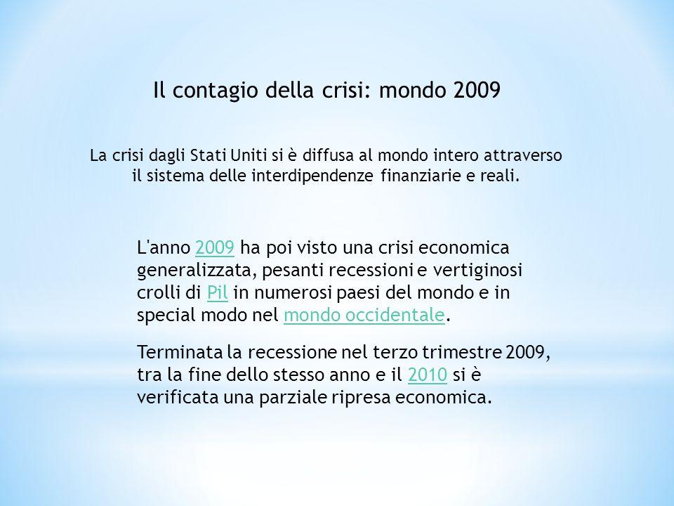 L'anno 2009 ha poi visto una crisi economica generalizzata, pesanti recessioni e vertiginosi crolli di Pil in numerosi paesi del mondo e in special mo