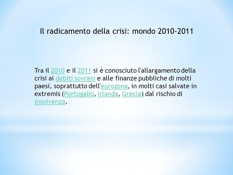 Tra il 2010 e il 2011 si è conosciuto l'allargamento della crisi ai debiti sovrani e alle finanze pubbliche di molti paesi, soprattutto dell'eurozona,