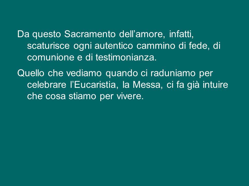 Oggi vi parlerò dell'Eucaristia. L'Eucaristia si colloca nel cuore dell'«iniziazione cristiana», insieme al Battesimo e alla Confermazione, e costitui