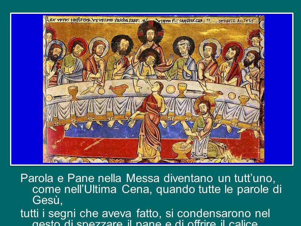 Sulla mensa c'è una croce, ad indicare che su quell'altare si offre il sacrificio di Cristo: è Lui il cibo spirituale che lì si riceve, sotto i segni