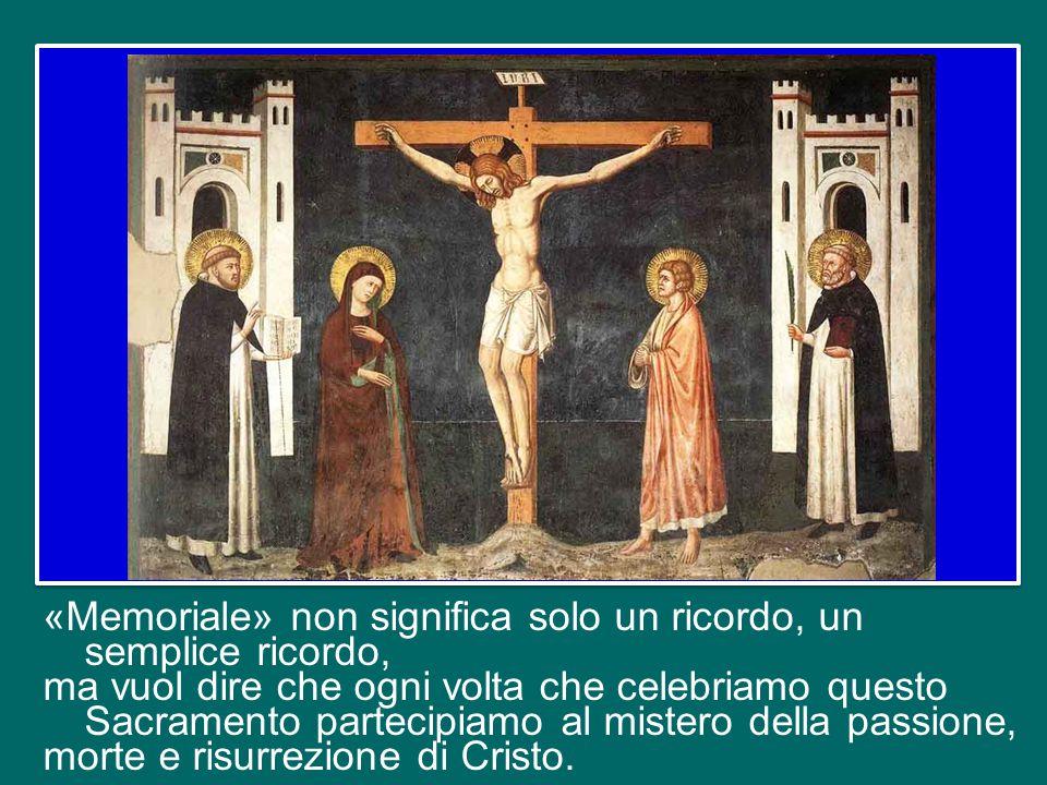Ecco perché il termine Eucaristia riassume tutto quel gesto, che è gesto di Dio e dell'uomo insieme, gesto di Gesù Cristo, vero Dio e vero uomo. Dunqu