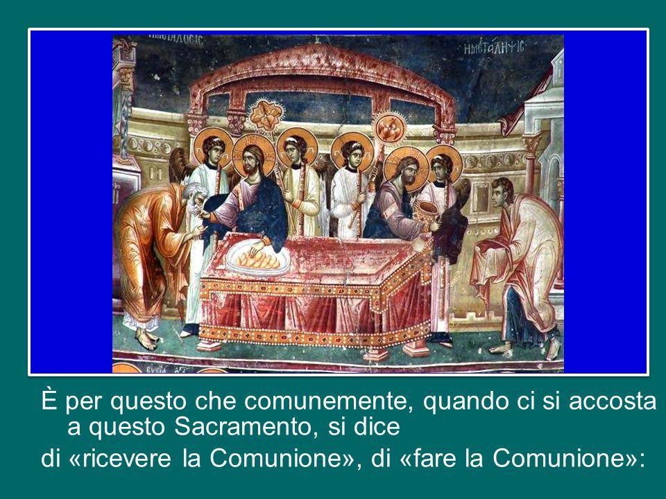 L'Eucaristia costituisce il vertice dell'azione di salvezza di Dio: il Signore Gesù, facendosi pane spezzato per noi, riversa infatti su di noi tutta