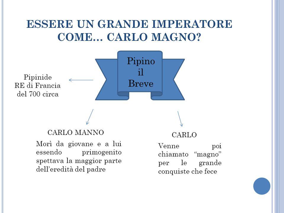 ESSERE UN GRANDE IMPERATORE COME… CARLO MAGNO? Pipino il Breve Pipinide RE di Francia del 700 circa CARLO MANNO CARLO Morì da giovane e a lui essendo