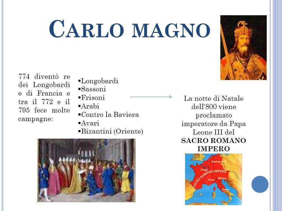C ARLO MAGNO 774 diventò re dei Longobardi e di Francia e tra il 772 e il 795 fece molte campagne: La notte di Natale dell'800 viene proclamato impera