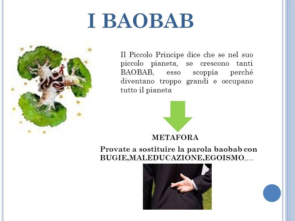 I BAOBAB Il Piccolo Principe dice che se nel suo piccolo pianeta, se crescono tanti BAOBAB, esso scoppia perché diventano troppo grandi e occupano tut