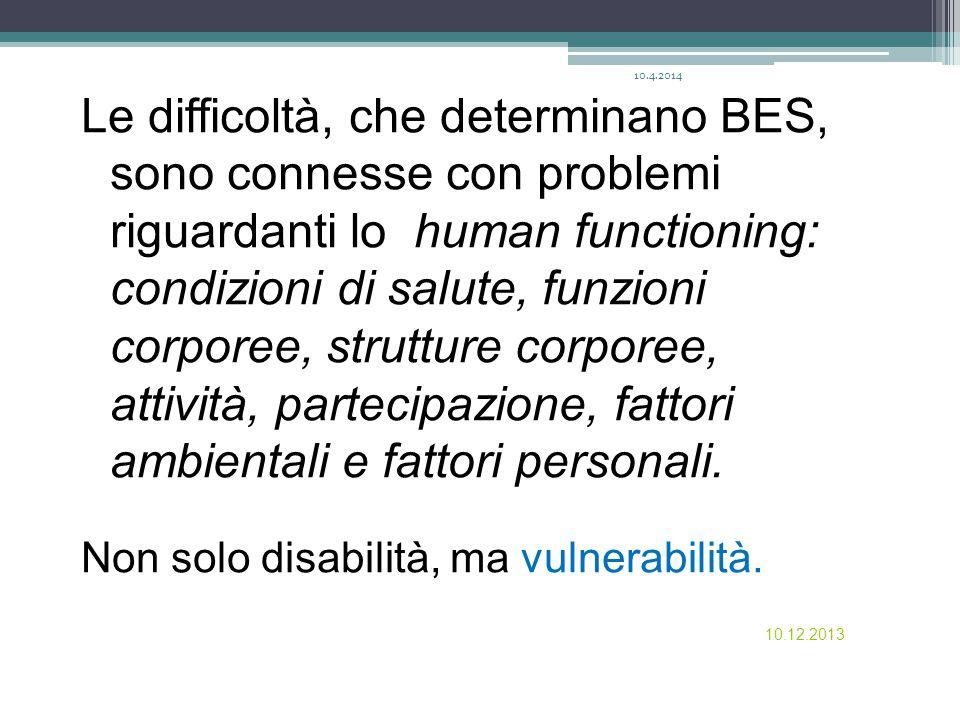 10.12.2013 Le difficoltà, che determinano BES, sono connesse con problemi riguardanti lo human functioning: condizioni di salute, funzioni corporee, s