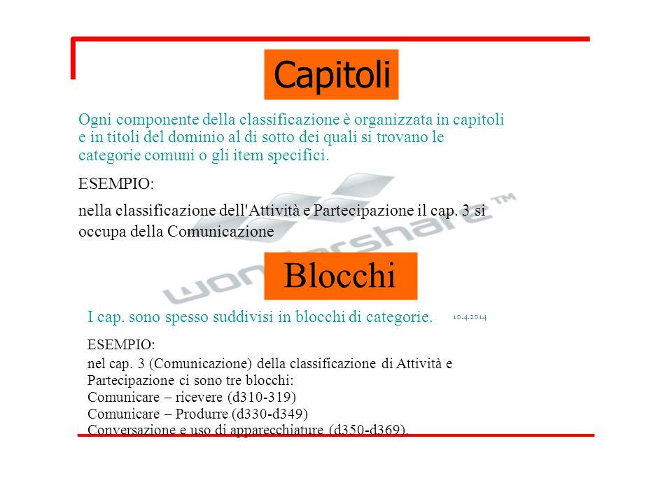 Capitoli Ogni componente della classificazione è organizzata in capitoli e in titoli del dominio al di sotto dei quali si trovano le categorie comuni