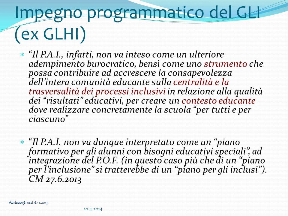 """Impegno programmatico del GLI (ex GLHI)  """"Il P.A.I., infatti, non va inteso come un ulteriore adempimento burocratico, bensì come uno strumento che p"""