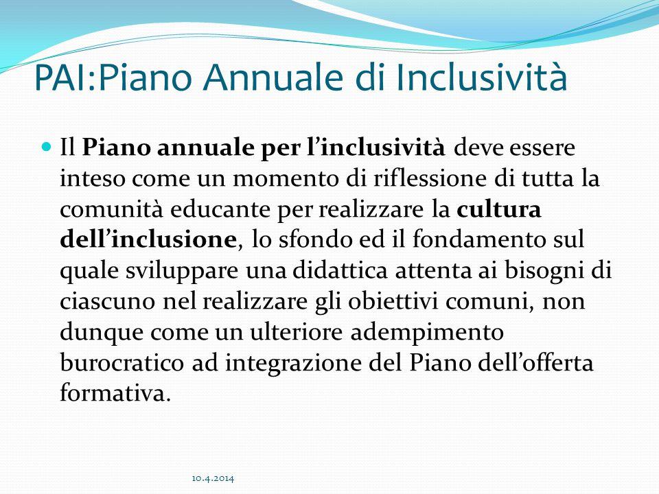 PAI:Piano Annuale di Inclusività Il Piano annuale per l'inclusività deve essere inteso come un momento di riflessione di tutta la comunità educante per realizzare la cultura dell'inclusione, lo sfondo ed il fondamento sul quale sviluppare una didattica attenta ai bisogni di ciascuno nel realizzare gli obiettivi comuni, non dunque come un ulteriore adempimento burocratico ad integrazione del Piano dell'offerta formativa.