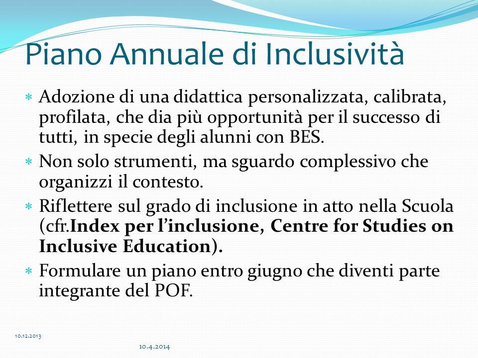 Piano Annuale di Inclusività  Adozione di una didattica personalizzata, calibrata, profilata, che dia più opportunità per il successo di tutti, in specie degli alunni con BES.