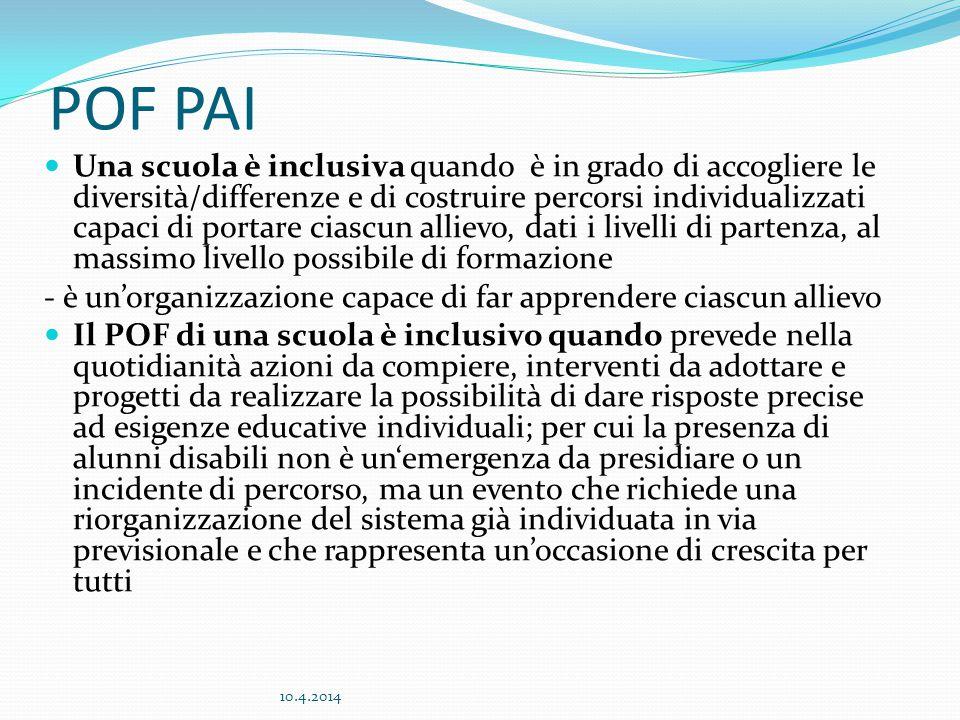 POF PAI Una scuola è inclusiva quando è in grado di accogliere le diversità/differenze e di costruire percorsi individualizzati capaci di portare cias