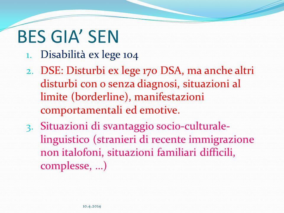 BES GIA' SEN 1.Disabilità ex lege 104 2.