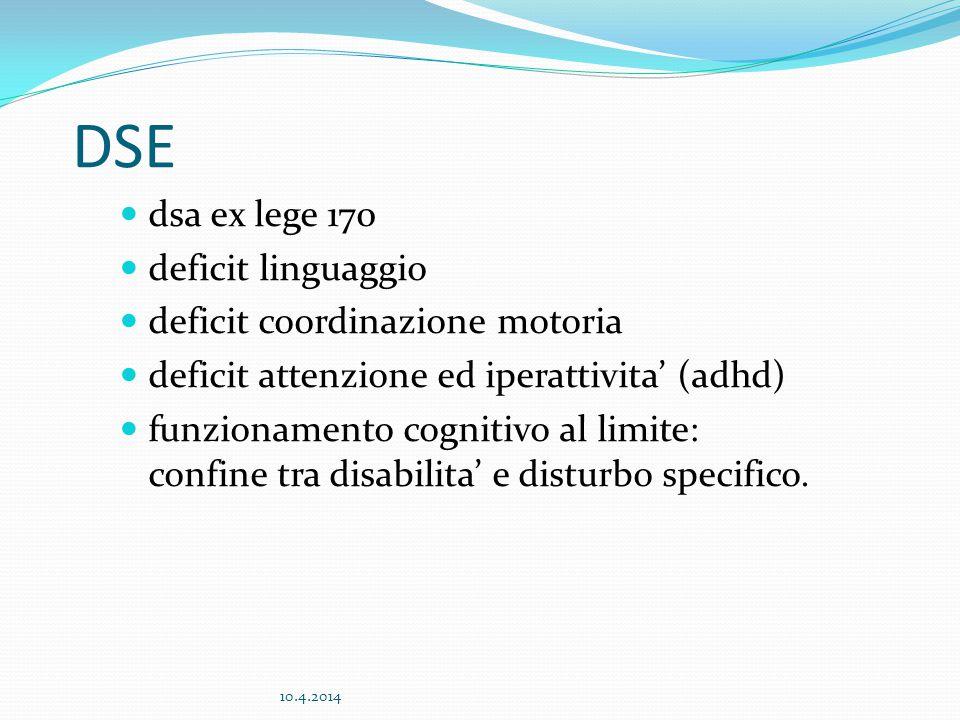 DSE dsa ex lege 170 deficit linguaggio deficit coordinazione motoria deficit attenzione ed iperattivita' (adhd) funzionamento cognitivo al limite: con