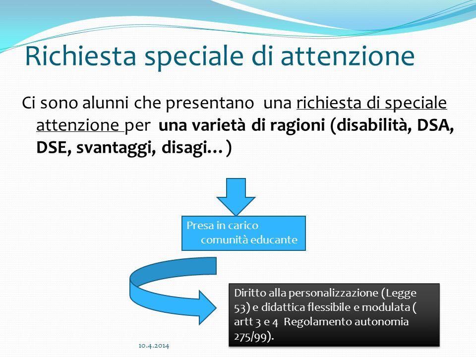 Richiesta speciale di attenzione Ci sono alunni che presentano una richiesta di speciale attenzione per una varietà di ragioni (disabilità, DSA, DSE,