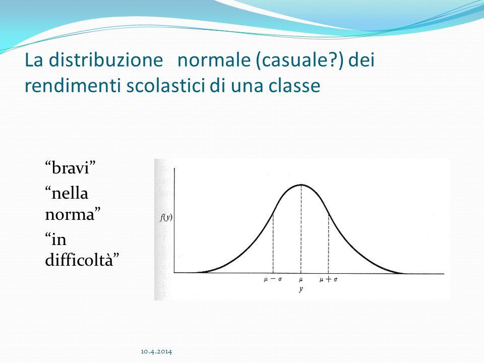La distribuzione normale (casuale?) dei rendimenti scolastici di una classe bravi nella norma in difficoltà 10.4.2014