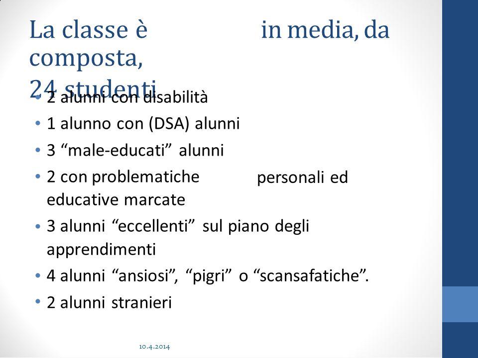 """La classe è composta, 24 studenti ininmedia,media,dada 21322132 alunni con disabilità alunno con (DSA) alunni """"male-educati"""" alunni con problematiche"""