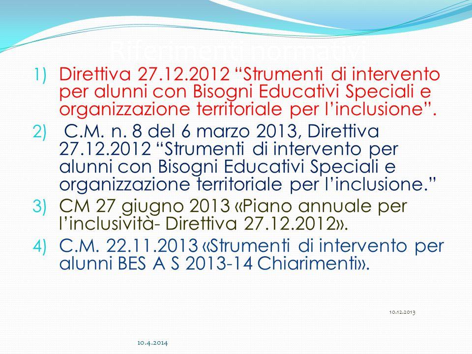 """1) Direttiva 27.12.2012 """"Strumenti di intervento per alunni con Bisogni Educativi Speciali e organizzazione territoriale per l'inclusione"""". 2) C.M. n."""