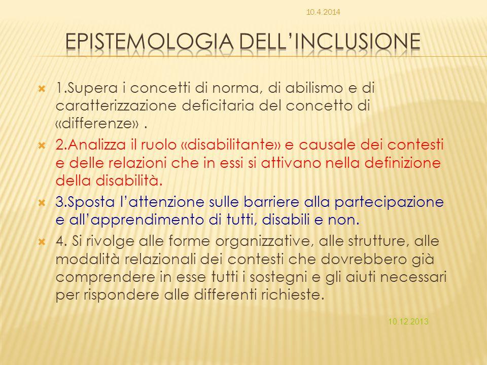  1.Supera i concetti di norma, di abilismo e di caratterizzazione deficitaria del concetto di «differenze».  2.Analizza il ruolo «disabilitante» e c