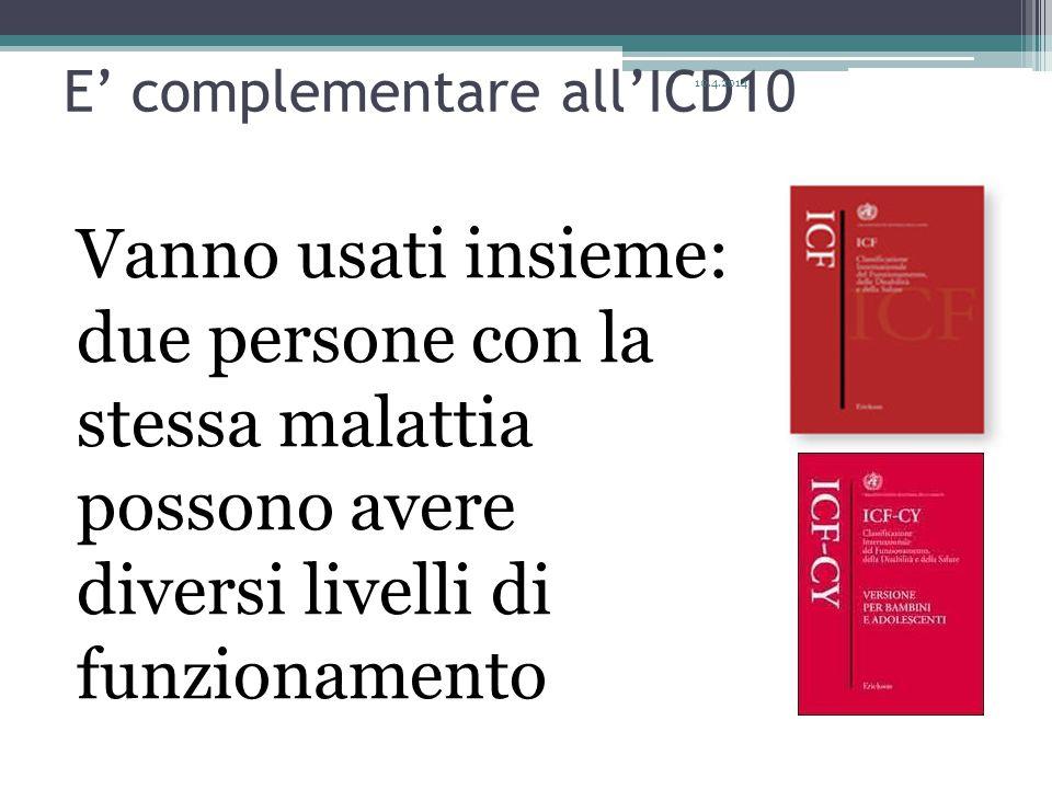 E' complementare all'ICD10 Vanno usati insieme: due persone con la stessa malattia possono avere diversi livelli di funzionamento 10.4.2014