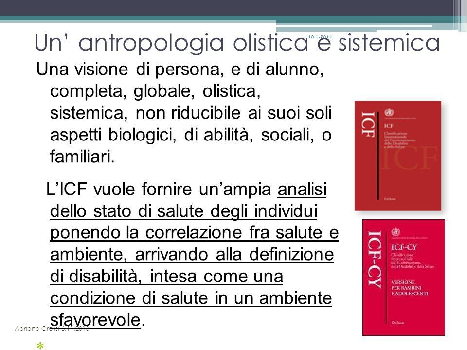 10.12.2013 Un' antropologia olistica e sistemica Adriano Grossi 6.11.2013 Una visione di persona, e di alunno, completa, globale, olistica, sistemica,