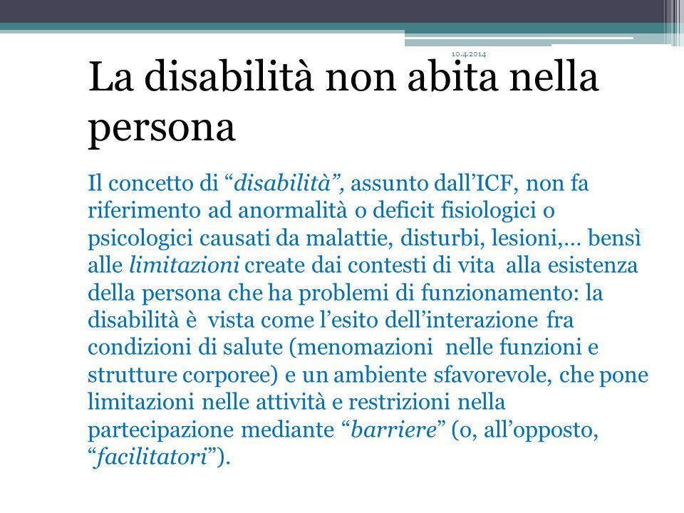 """Il concetto di """"disabilità"""", assunto dall'ICF, non fa riferimento ad anormalità o deficit fisiologici o psicologici causati da malattie, disturbi, les"""