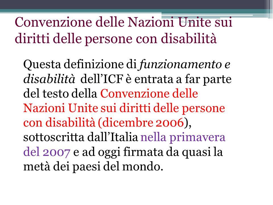 Questa definizione di funzionamento e disabilità dell'ICF è entrata a far parte del testo della Convenzione delle Nazioni Unite sui diritti delle persone con disabilità (dicembre 2006), sottoscritta dall'Italia nella primavera del 2007 e ad oggi firmata da quasi la metà dei paesi del mondo.