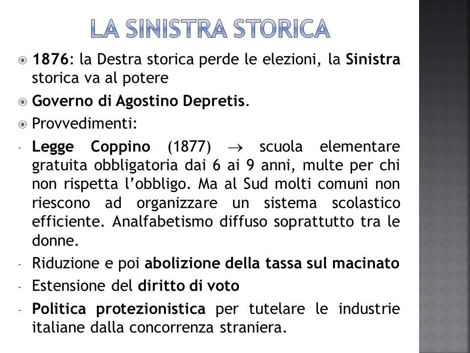  1876: la Destra storica perde le elezioni, la Sinistra storica va al potere  Governo di Agostino Depretis.  Provvedimenti: - Legge Coppino (1877)