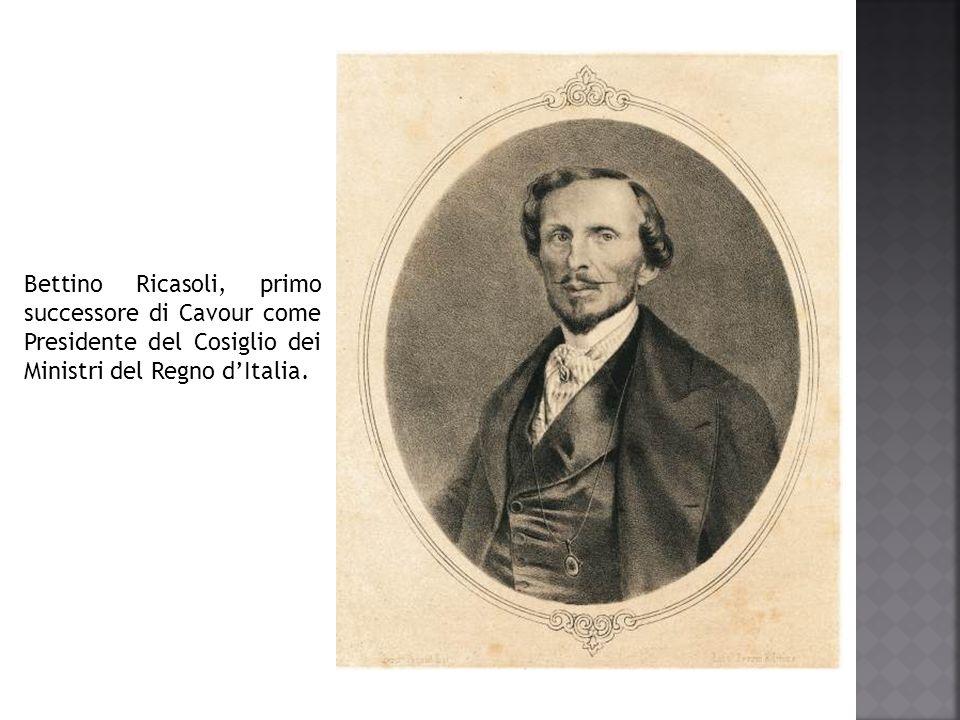Bettino Ricasoli, primo successore di Cavour come Presidente del Cosiglio dei Ministri del Regno d'Italia.