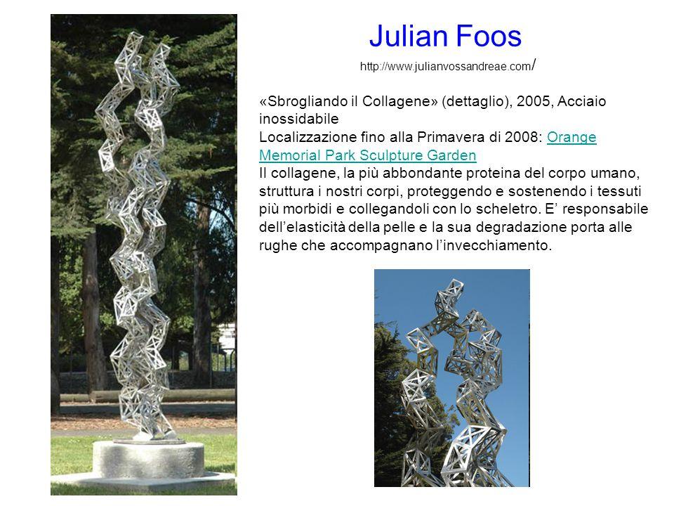 «Sbrogliando il Collagene» (dettaglio), 2005, Acciaio inossidabile Localizzazione fino alla Primavera di 2008: Orange Memorial Park Sculpture GardenOr