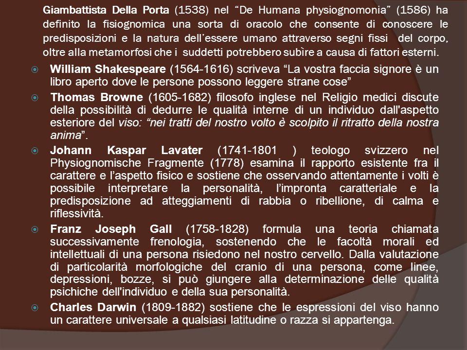 """Giambattista Della Porta (1538) nel """"De Humana physiognomonia"""" (1586) ha definito la fisiognomica una sorta di oracolo che consente di conoscere le pr"""