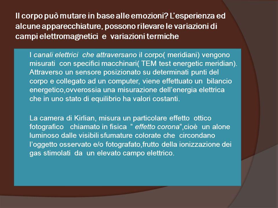 Il corpo può mutare in base alle emozioni? L'esperienza ed alcune apparecchiature, possono rilevare le variazioni di campi elettromagnetici e variazio