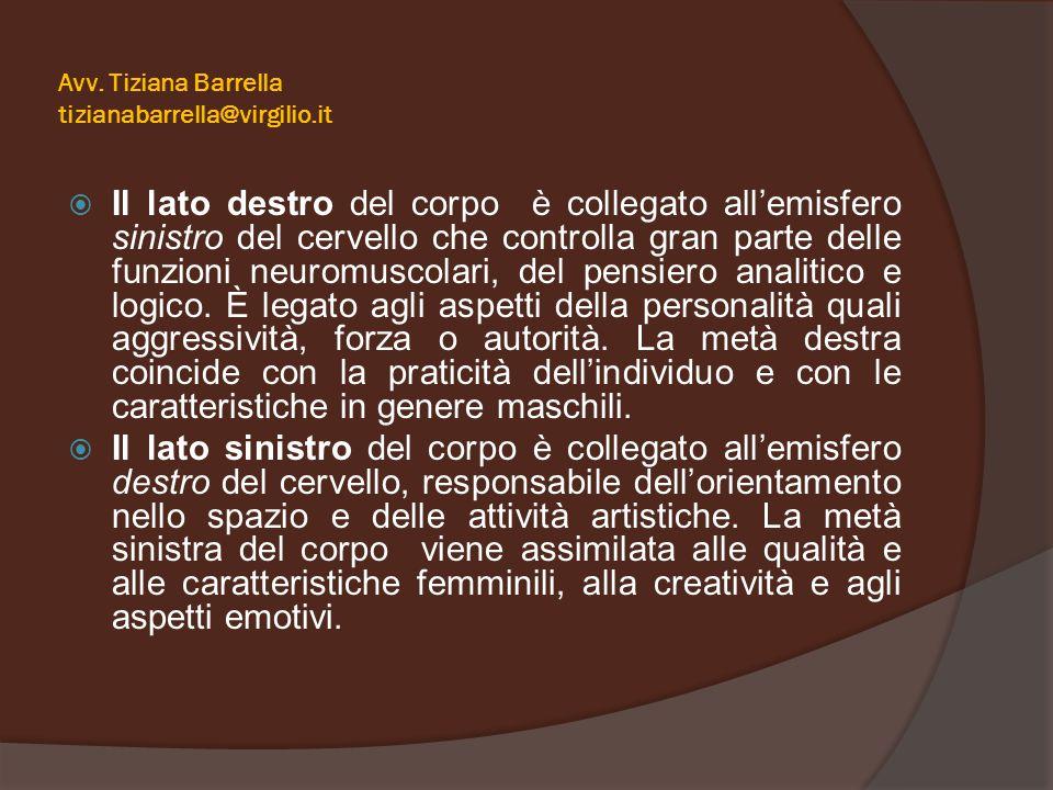 Avv. Tiziana Barrella tizianabarrella@virgilio.it  Il lato destro del corpo è collegato all'emisfero sinistro del cervello che controlla gran parte d