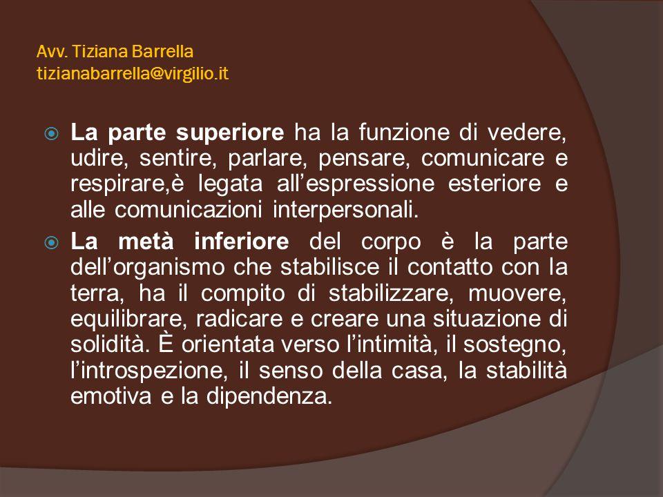 Avv. Tiziana Barrella tizianabarrella@virgilio.it  La parte superiore ha la funzione di vedere, udire, sentire, parlare, pensare, comunicare e respir