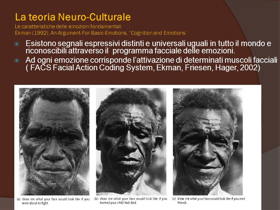  Esistono segnali espressivi distinti e universali uguali in tutto il mondo e riconoscibili attraverso il programma facciale delle emozioni.  Ad ogn