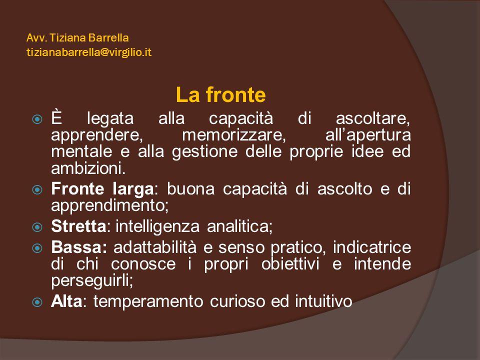 Avv. Tiziana Barrella tizianabarrella@virgilio.it La fronte  È legata alla capacità di ascoltare, apprendere, memorizzare, all'apertura mentale e all