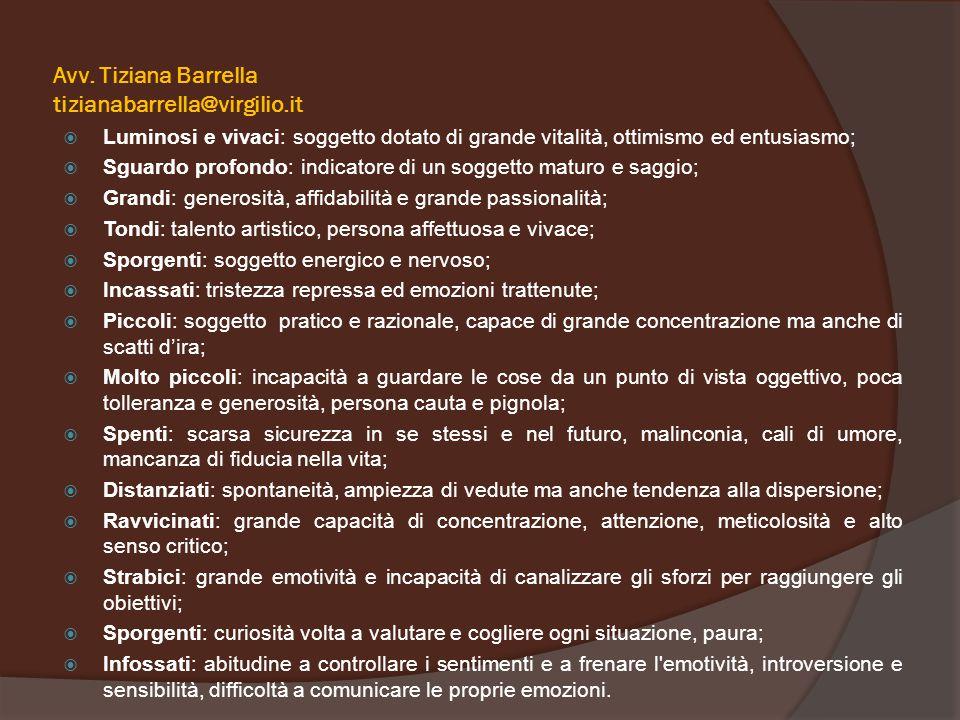 Avv. Tiziana Barrella tizianabarrella@virgilio.it  Luminosi e vivaci: soggetto dotato di grande vitalità, ottimismo ed entusiasmo;  Sguardo profondo