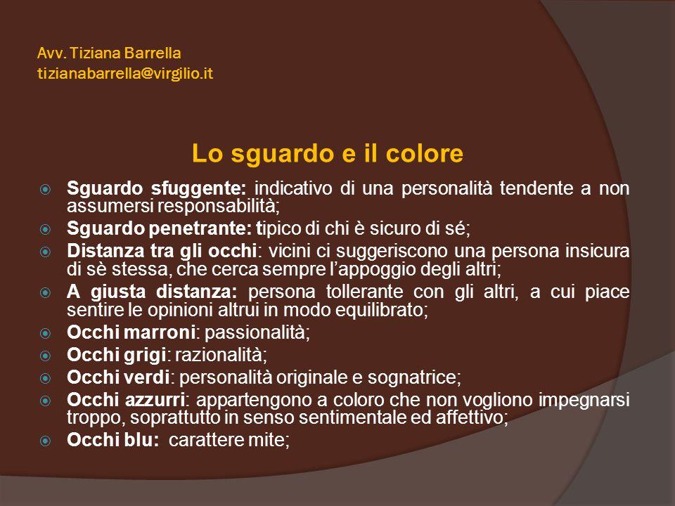 Avv. Tiziana Barrella tizianabarrella@virgilio.it Lo sguardo e il colore  Sguardo sfuggente: indicativo di una personalità tendente a non assumersi r
