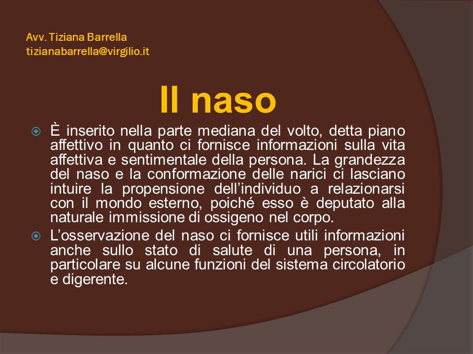 Avv. Tiziana Barrella tizianabarrella@virgilio.it Il naso  È inserito nella parte mediana del volto, detta piano affettivo in quanto ci fornisce info