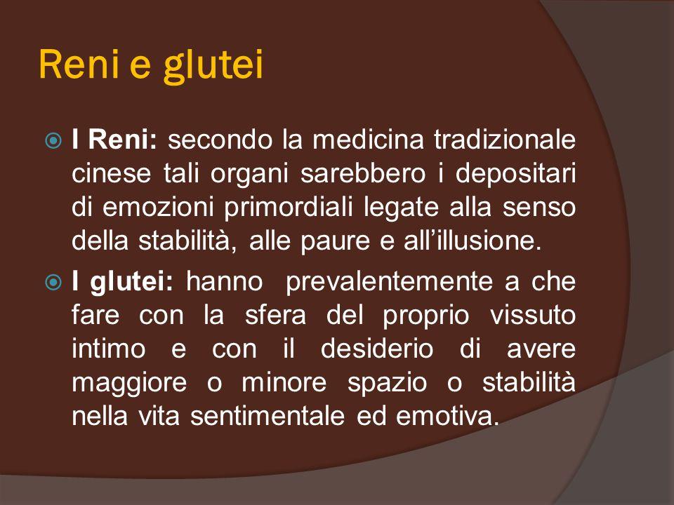 Reni e glutei  I Reni: secondo la medicina tradizionale cinese tali organi sarebbero i depositari di emozioni primordiali legate alla senso della sta