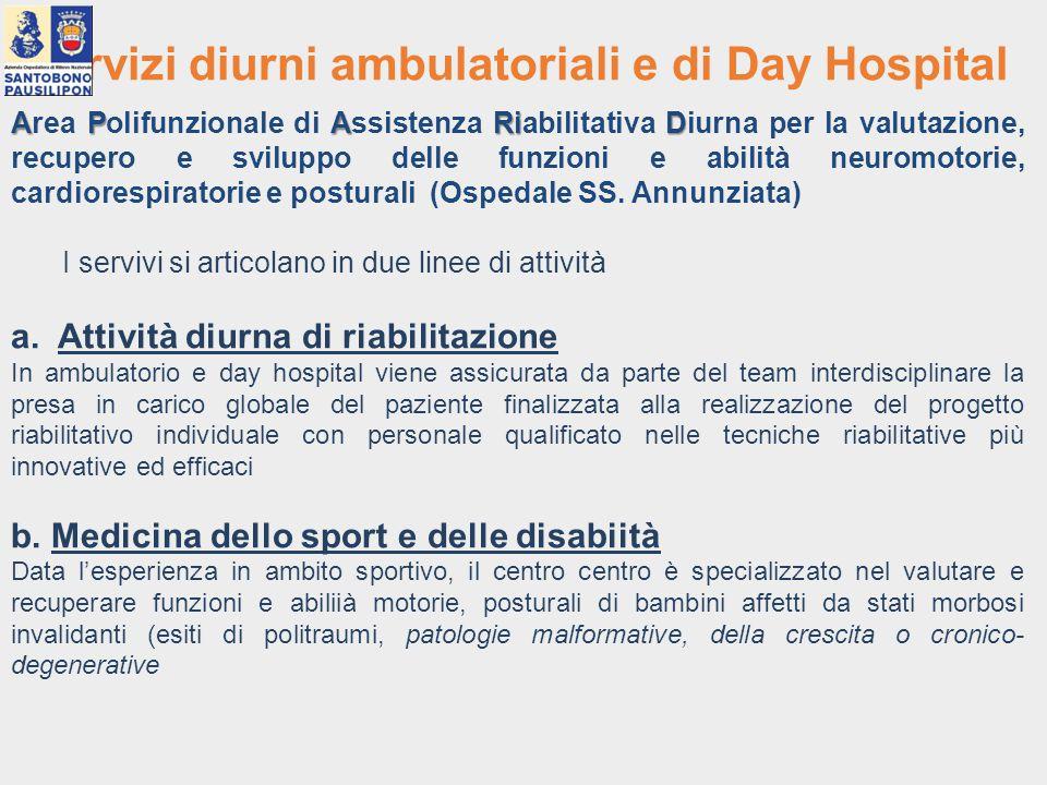 Servizi diurni ambulatoriali e di Day Hospital APARiD Area Polifunzionale di Assistenza Riabilitativa Diurna per la valutazione, recupero e sviluppo d