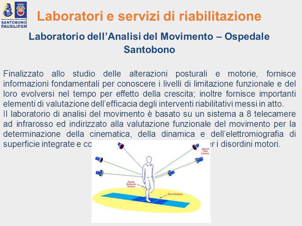 Laboratori e servizi di riabilitazione Laboratorio dell'Analisi del Movimento – Ospedale Santobono Finalizzato allo studio delle alterazioni posturali
