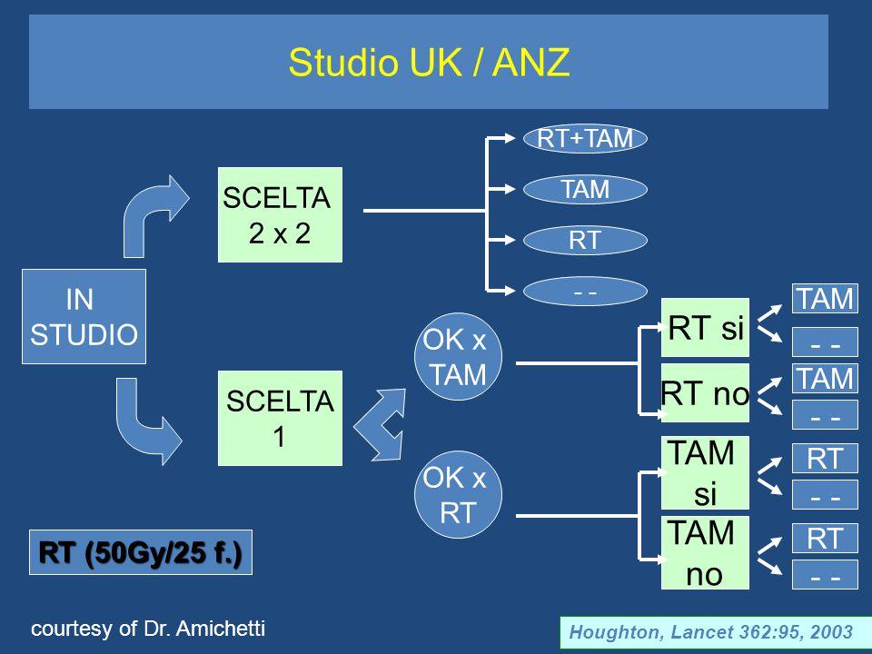 Studio UK / ANZ Houghton, Lancet 362:95, 2003 IN STUDIO SCELTA 1 SCELTA 2 x 2 RT+TAM TAM RT - OK x TAM OK x RT RT si RT no TAM no TAM si TAM - RT - RT TAM - RT (50Gy/25 f.) courtesy of Dr.