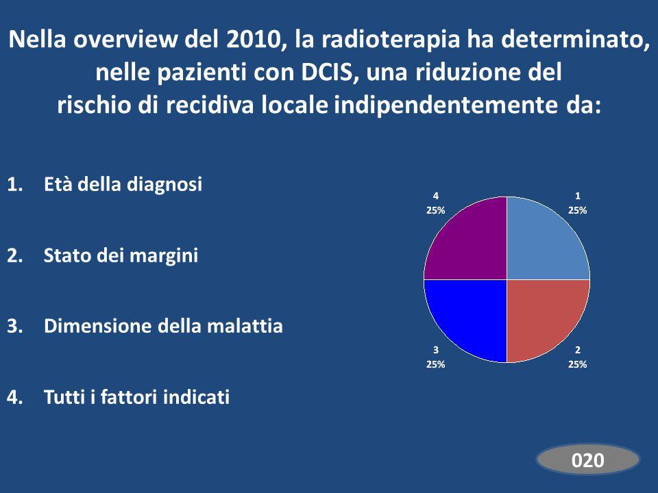 Nella overview del 2010, la radioterapia ha determinato, nelle pazienti con DCIS, una riduzione del rischio di recidiva locale indipendentemente da: 1.Età della diagnosi 2.Stato dei margini 3.Dimensione della malattia 4.Tutti i fattori indicati EdiVoteStartEdiVoteStop 000 Standard 020