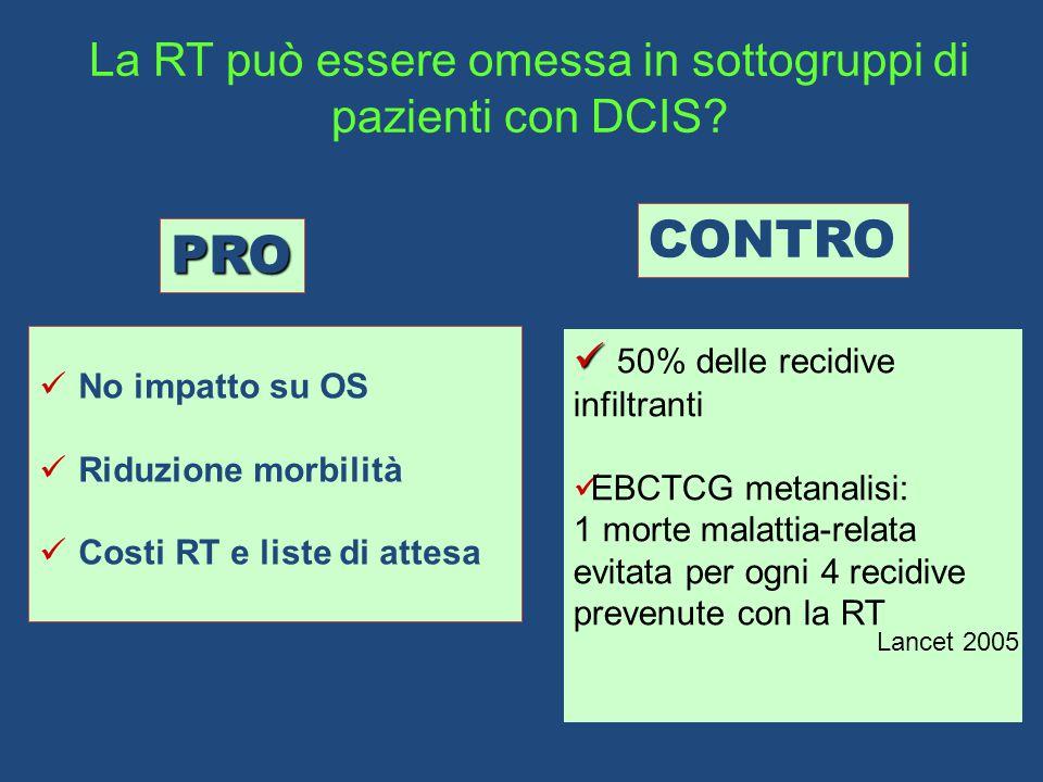 La RT può essere omessa in sottogruppi di pazienti con DCIS.