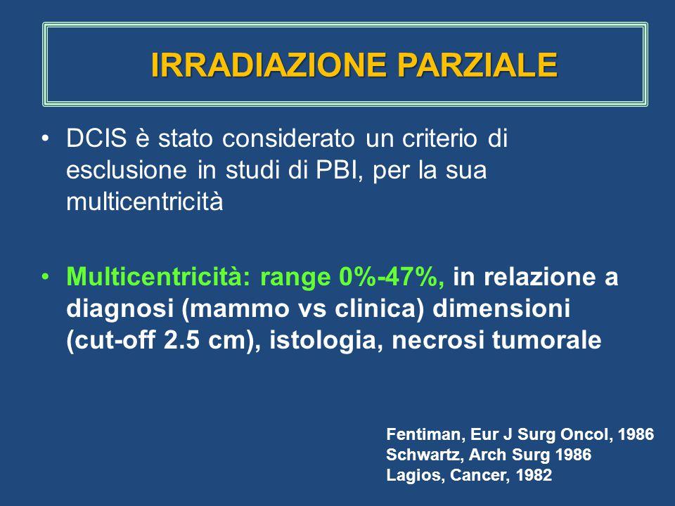 DCIS è stato considerato un criterio di esclusione in studi di PBI, per la sua multicentricità Multicentricità: range 0%-47%, in relazione a diagnosi (mammo vs clinica) dimensioni (cut-off 2.5 cm), istologia, necrosi tumorale Fentiman, Eur J Surg Oncol, 1986 Schwartz, Arch Surg 1986 Lagios, Cancer, 1982 IRRADIAZIONE PARZIALE IRRADIAZIONE PARZIALE