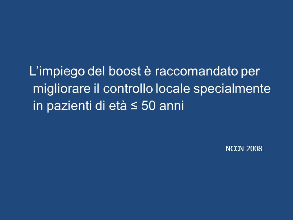 L'impiego del boost è raccomandato per migliorare il controllo locale specialmente in pazienti di età ≤ 50 anni NCCN 2008